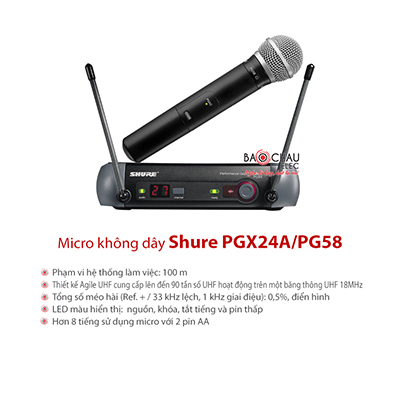 Míc ko dây Shure PGX24/PG58
