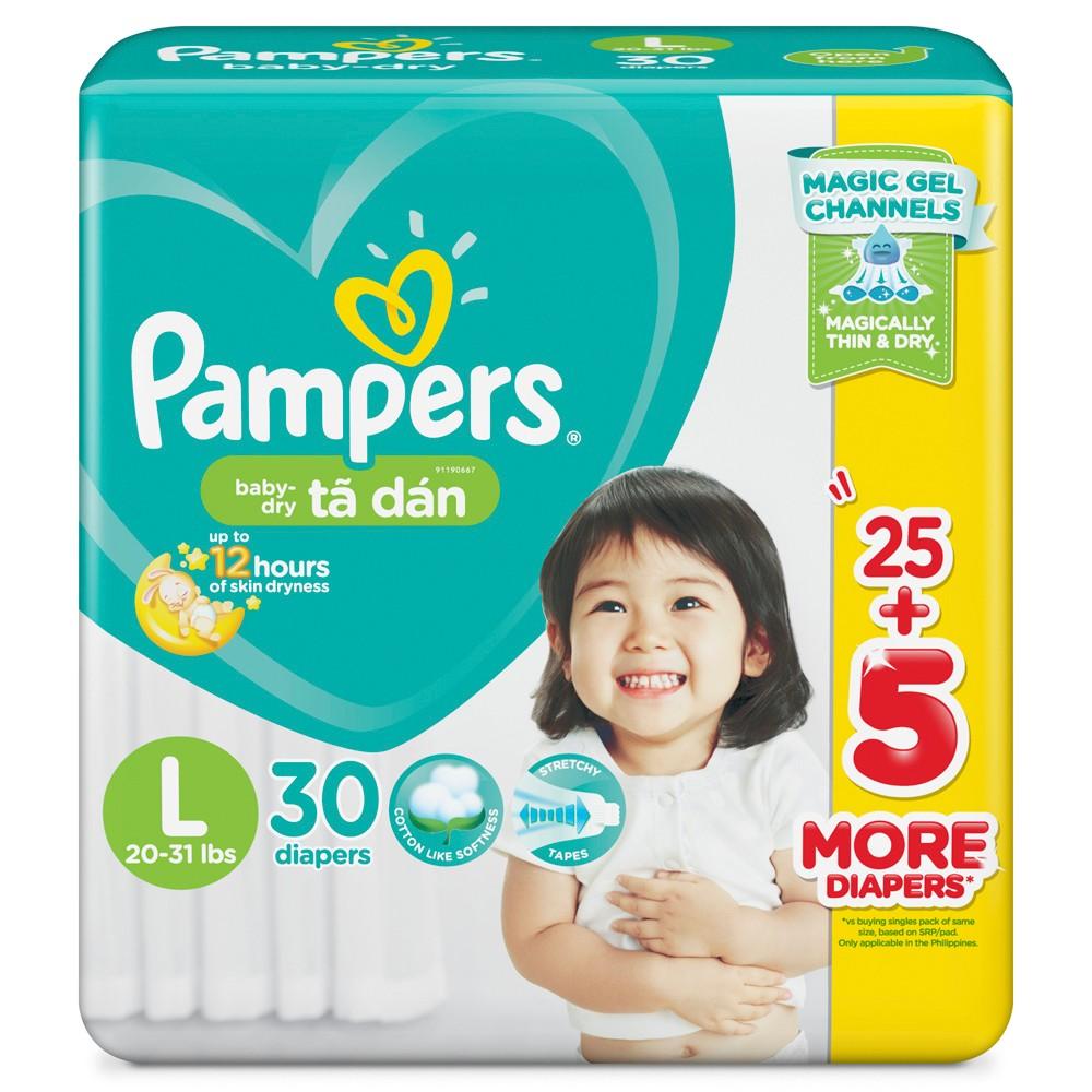 Tã dán Pampers Baby-dry L30 (size L - 30 miếng)