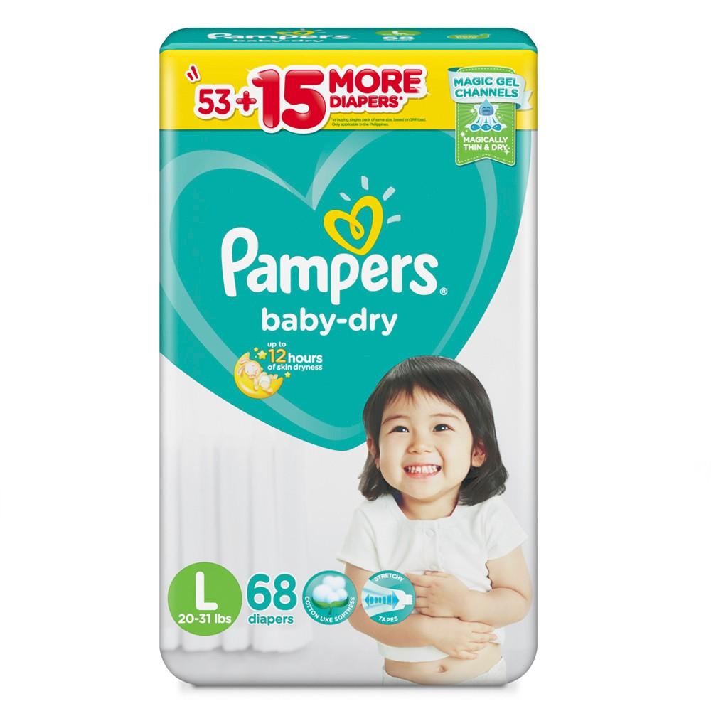 Tã dán Pampers Baby-dry L68 (size L - 68 miếng)