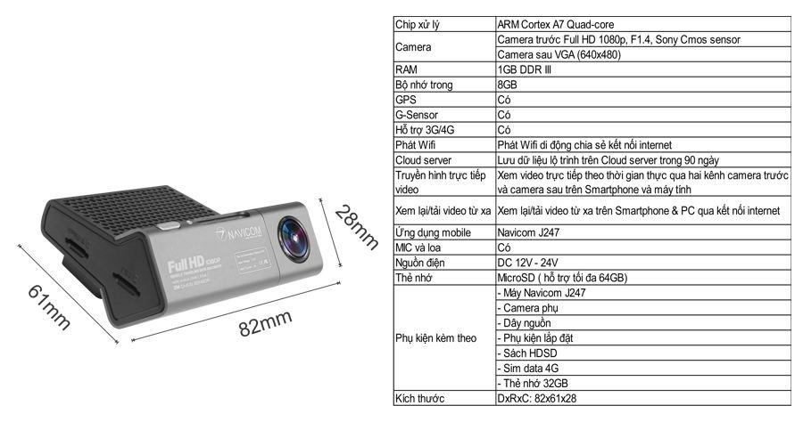 lắp camera hành xe hơi navicom J247