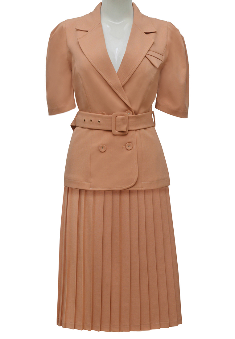 Bộ đầm công sở ELMI thời trang cao cấp màu cam EV27