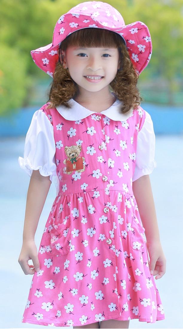 Bộ váy kèm mũ trẻ em màu hồng hoa EK06