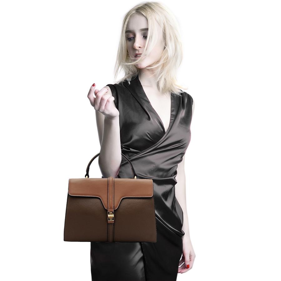 Túi xách tay nữ ELMI da bò thật cao cấp màu nâu ET683