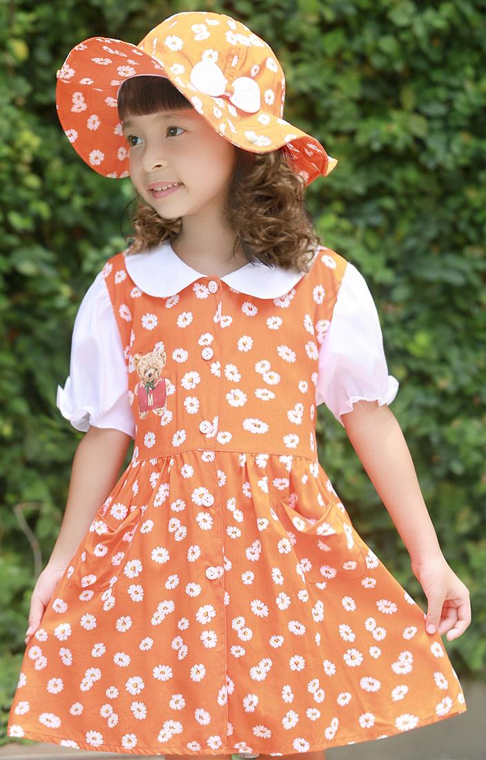 Bộ váy kèm mũ trẻ em màu cam EK03