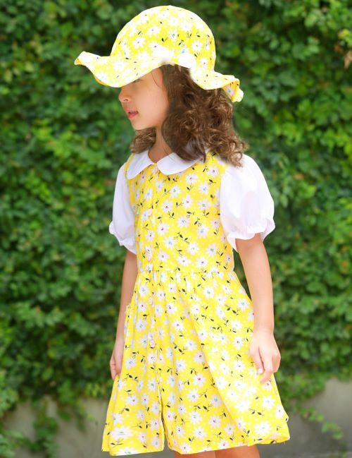 Bộ váy kèm mũ trẻ em màu vàng EK04