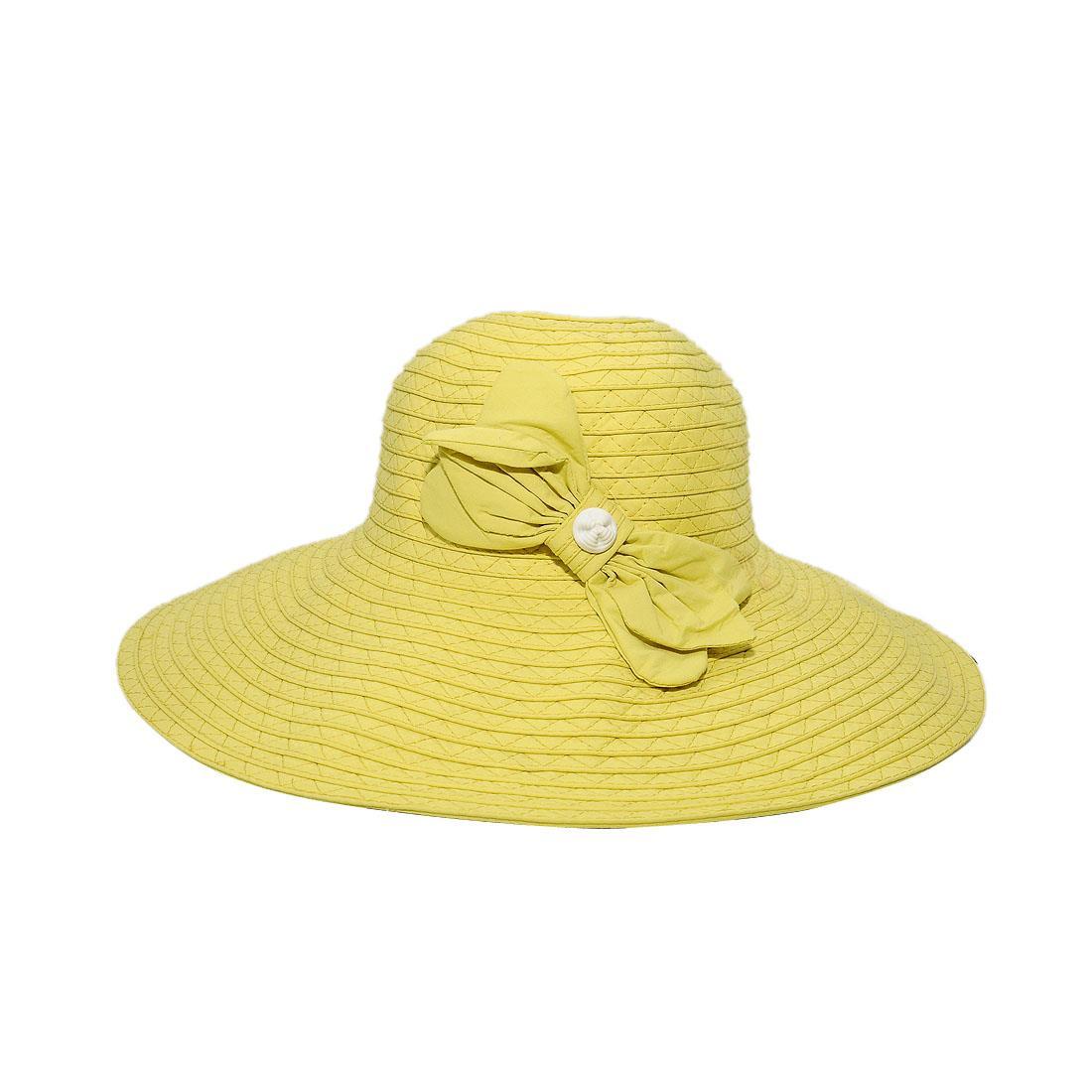 Nón nữ vành rộng cao cấp màu vàng EH19-2