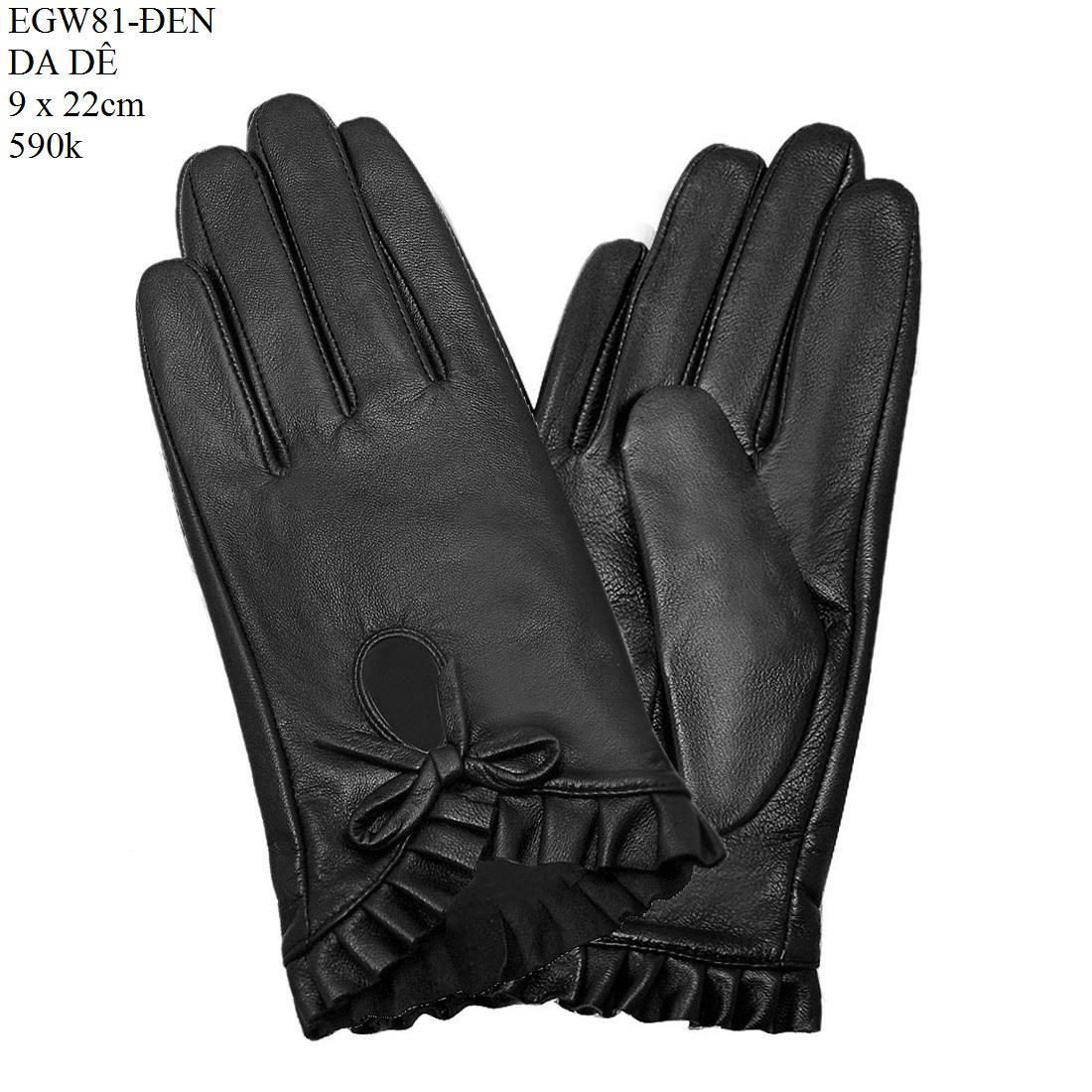 Găng tay nữ da dê thật cao cấp màu đen EGW81