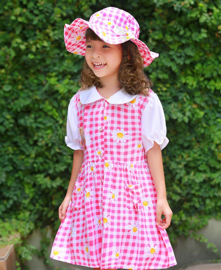 Bộ váy kèm mũ trẻ em caro hồng EK02