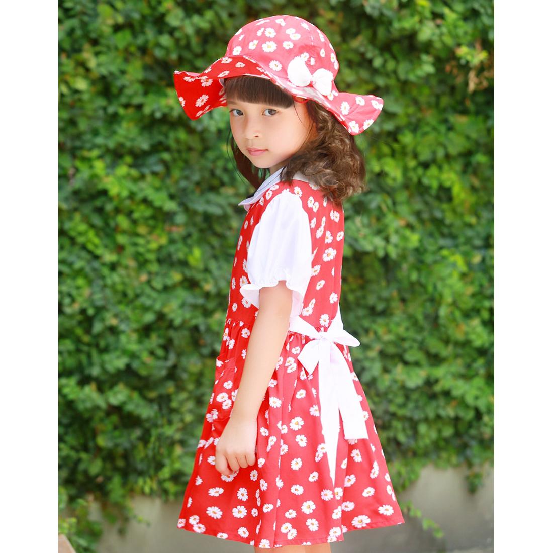 Bộ váy kèm mũ trẻ em hoa nhí đỏ EK05