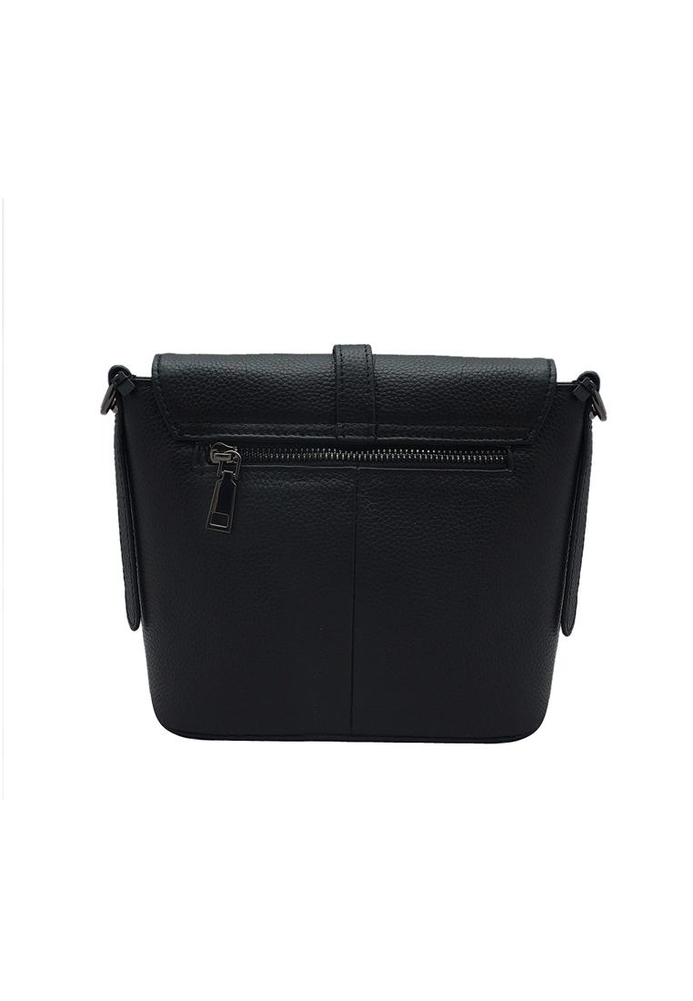 Túi đeo chéo nữ ELMI da bò thật cao cấp màu đen EB05
