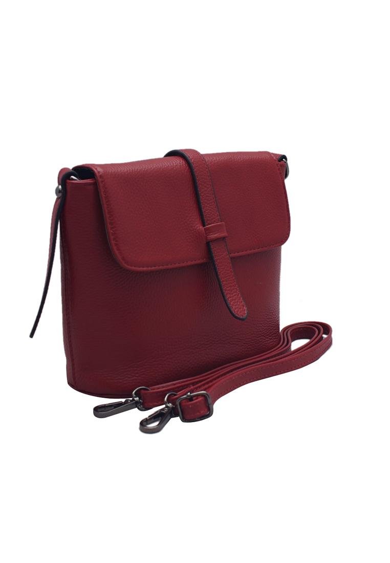Túi đeo chéo nữ ELMI da bò thật cao cấp màu đỏ đô EB06