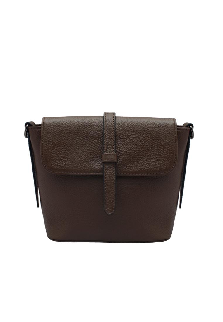 Túi đeo chéo nữ ELMI da bò thật cao cấp màu nâu EB08