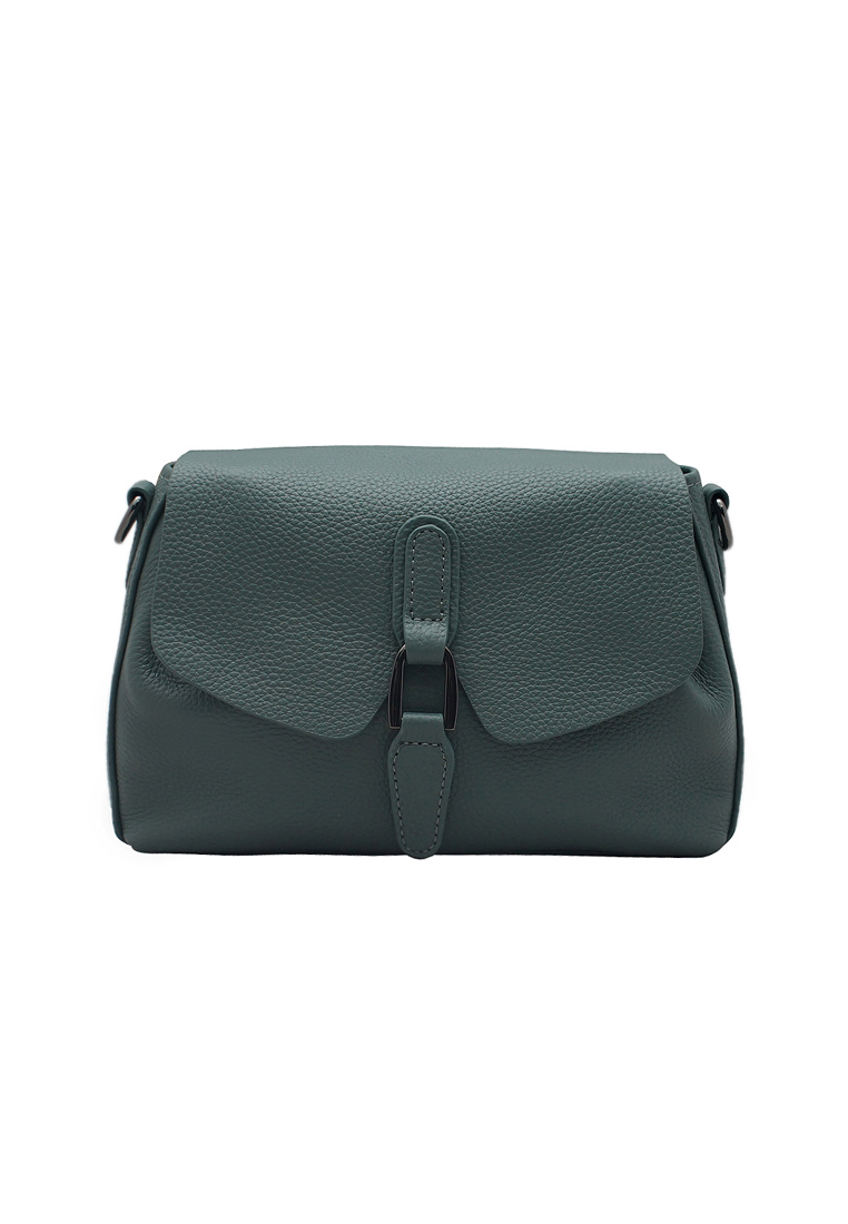 Túi đeo chéo nữ ELMI da bò thật cao cấp màu xanh EB119