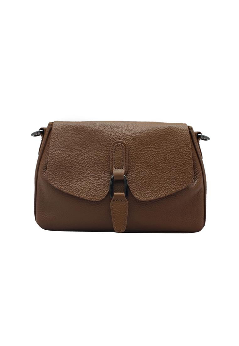 Túi đeo chéo nữ da bò thật cao cấp ELMI màu nâu bò EB120