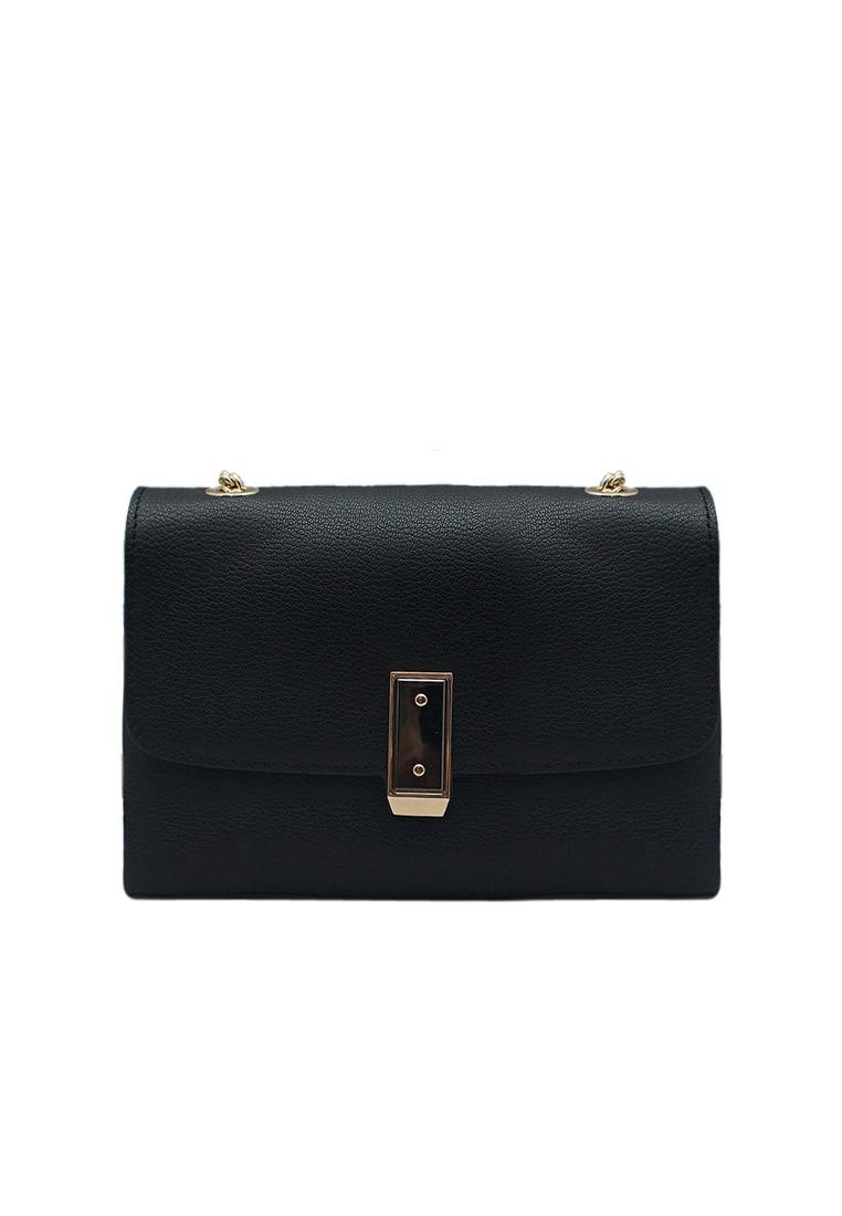 Túi đeo chéo nữ ELMI da bò thật cao cấp màu đen EB145