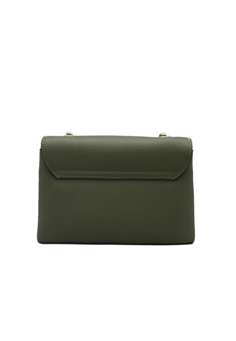 Túi đeo chéo nữ ELMI da bò thật cao cấp màu xanh lá EB146