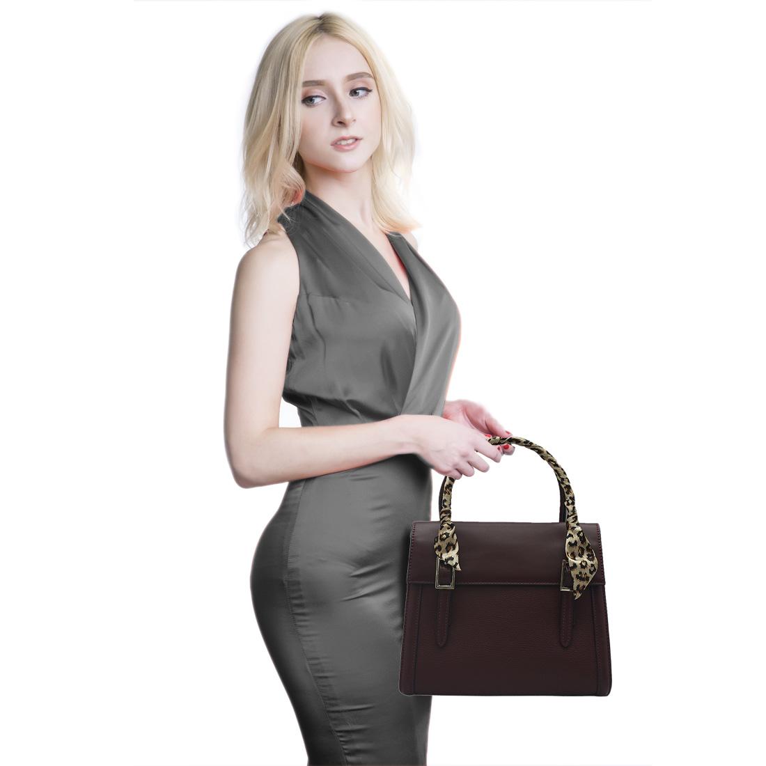 Túi xách tay nữ ELMI da bò thật cao cấp màu đỏ đô EB148