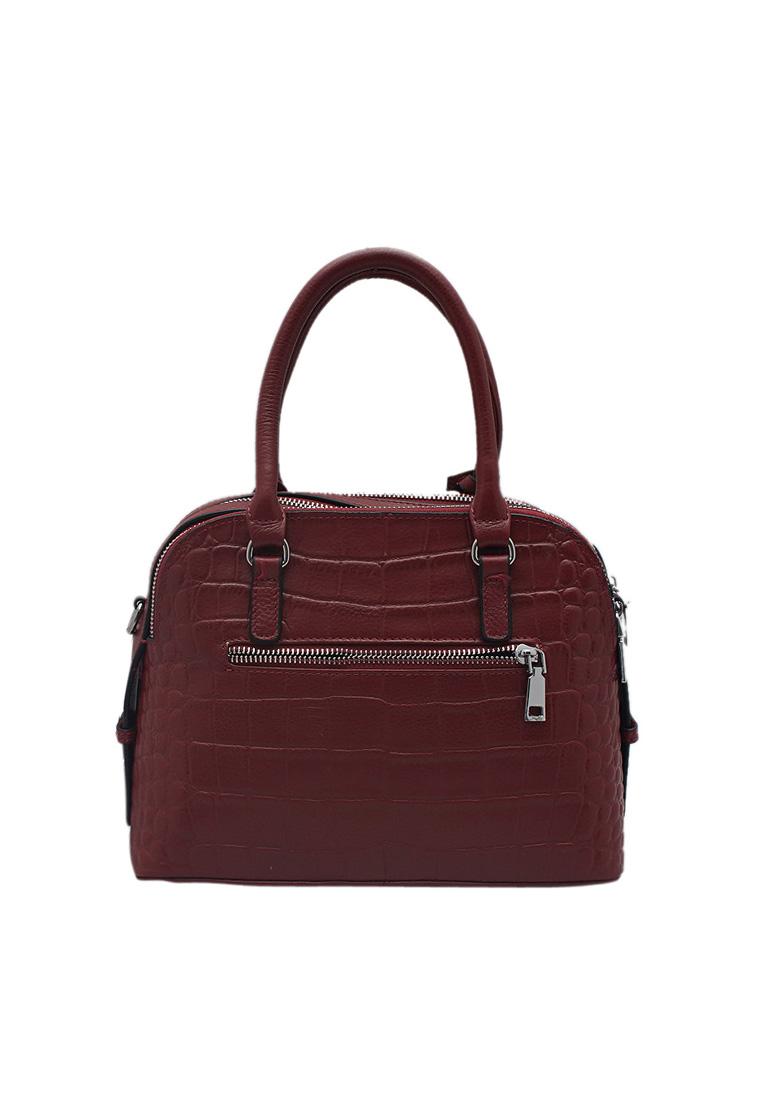 Túi xách nữ ELMI da bò thật cao cấp màu đỏ đô EB151
