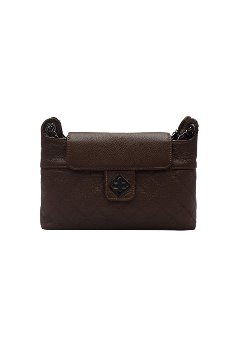 Túi đeo chéo nữ ELMI da bò thật cao cấp màu nâu EB153