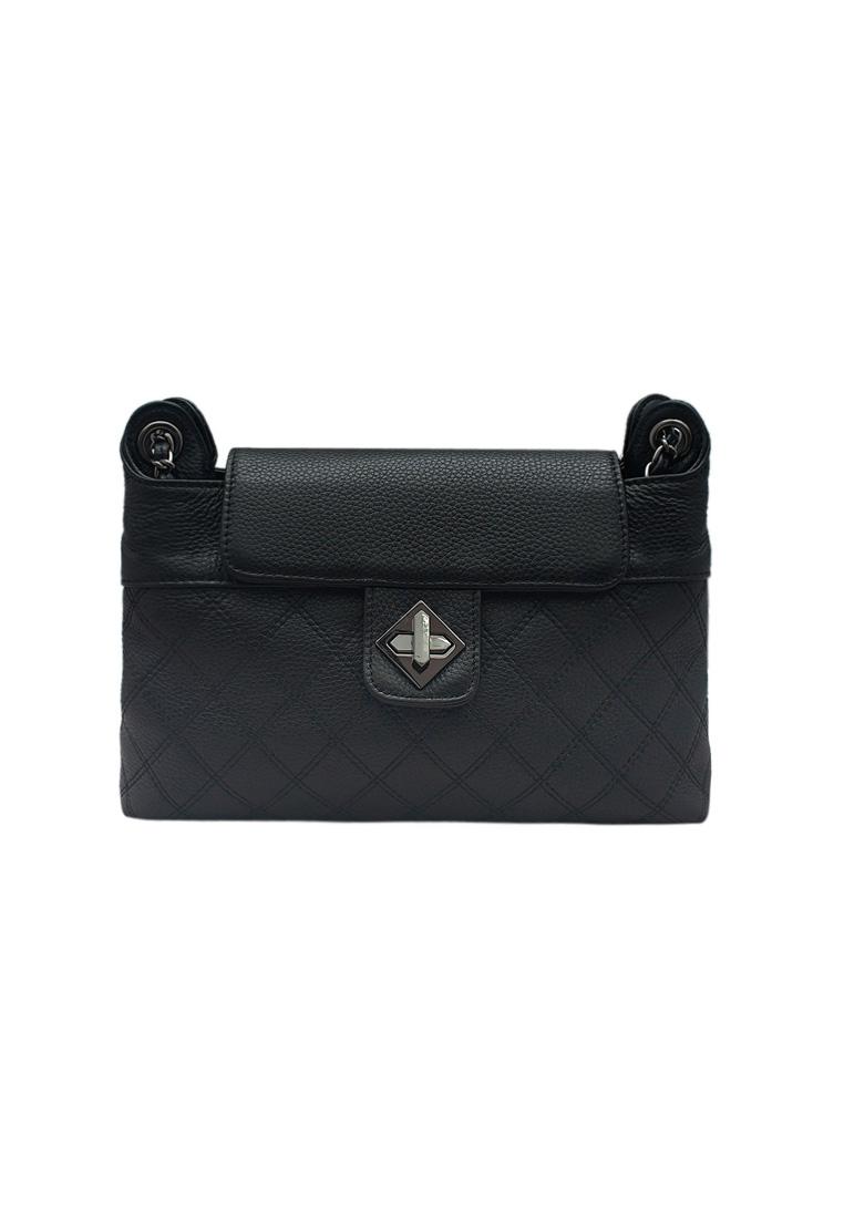 Túi đeo chéo nữ ELMI da bò thật cao cấp màu đen EB154