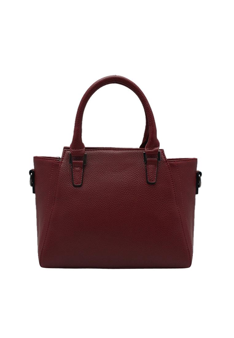 Túi xách nữ ELMI da bò thật cao cấp màu đỏ đô EB158