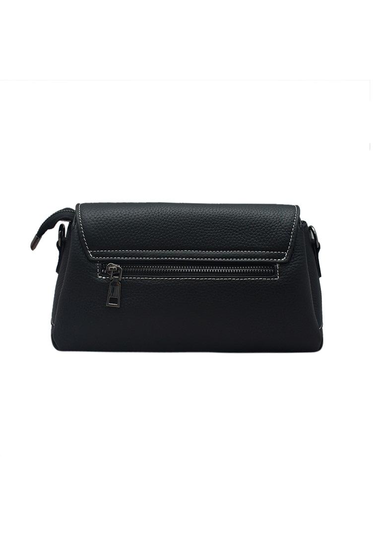 Túi đeo chéo nữ ELMI da bò thật cao cấp màu đen EB160