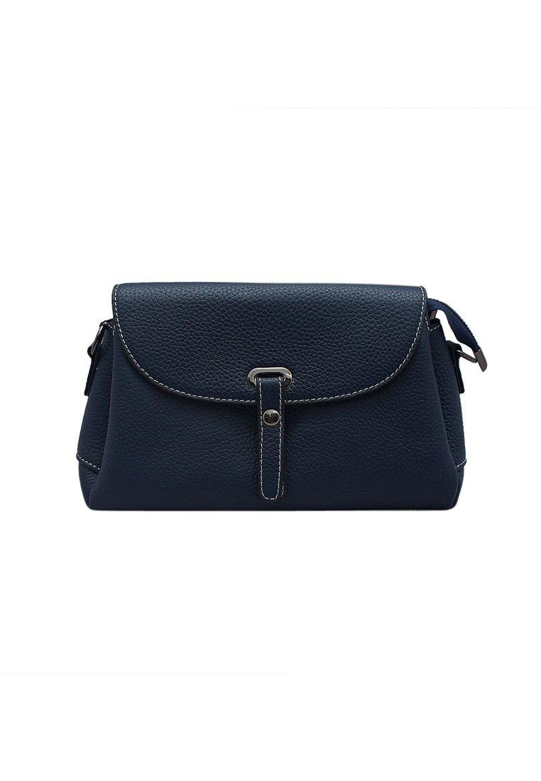 Túi đeo chéo nữ ELMI da bò thật cao cấp màu xanh đen EB162
