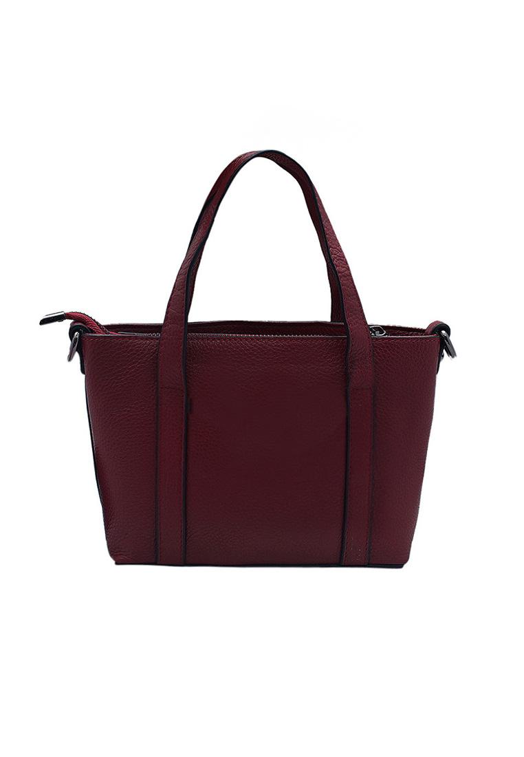 Túi xách nữ ELMI da bò thật cao cấp màu đỏ đô EB165