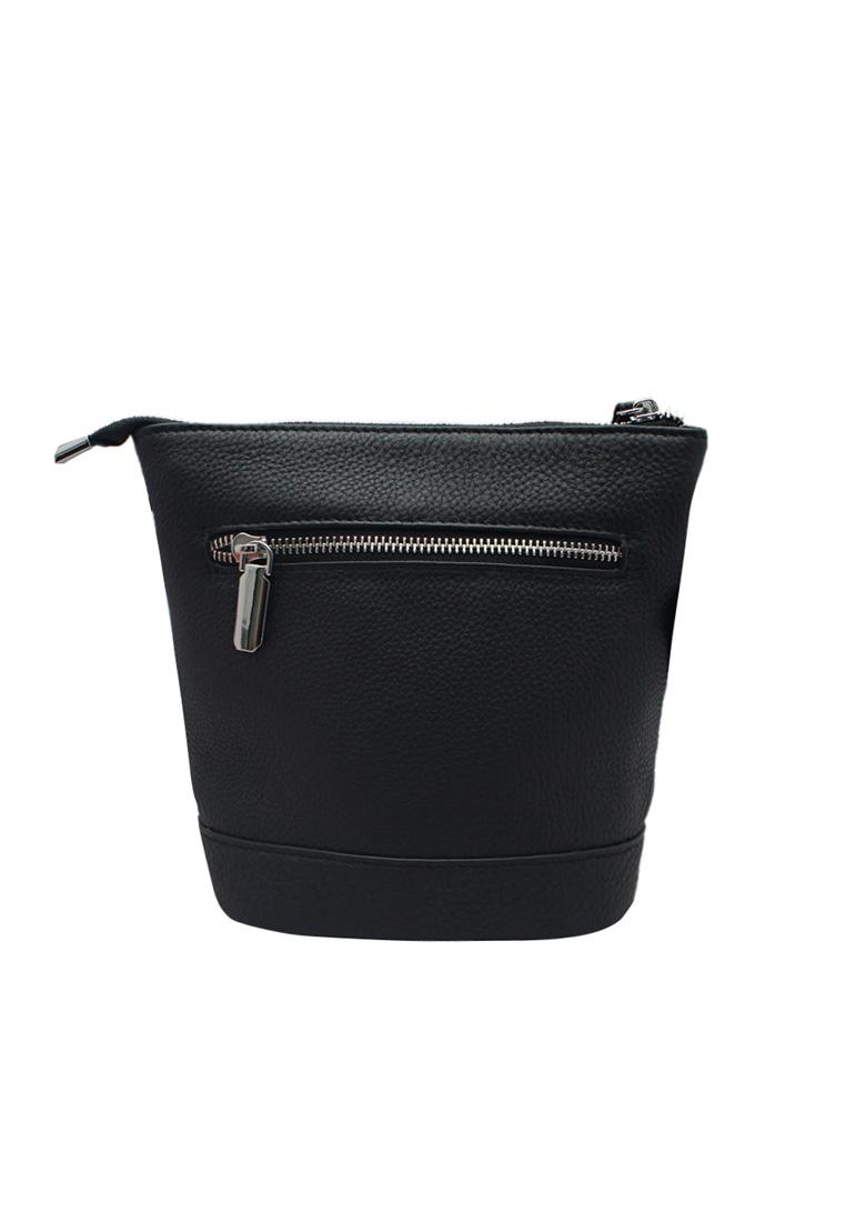 Túi đeo chéo nữ ELMI da bò thật cao cấp màu đen EB166
