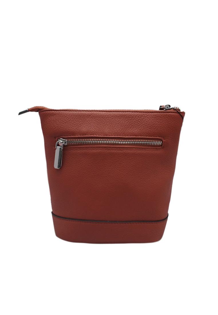 Túi đeo chéo nữ ELMI da bò thật cao cấp màu cam EB167