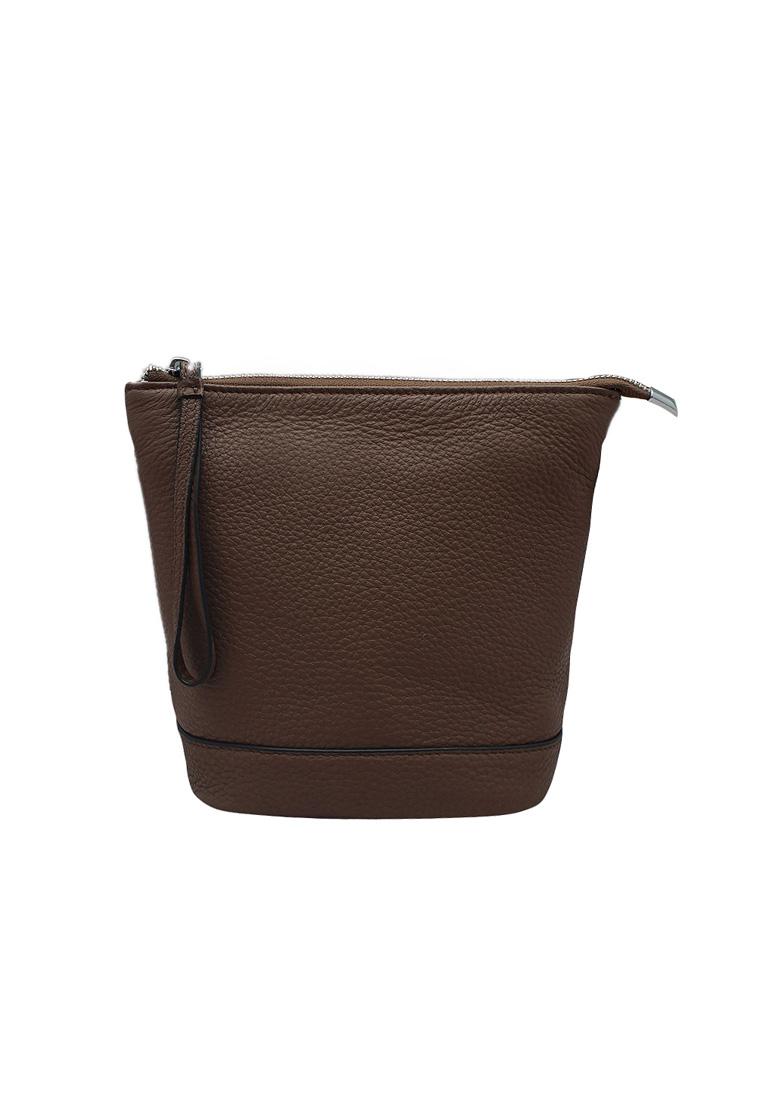 Túi đeo chéo nữ ELMI da bò thật cao cấp màu nâu EB168