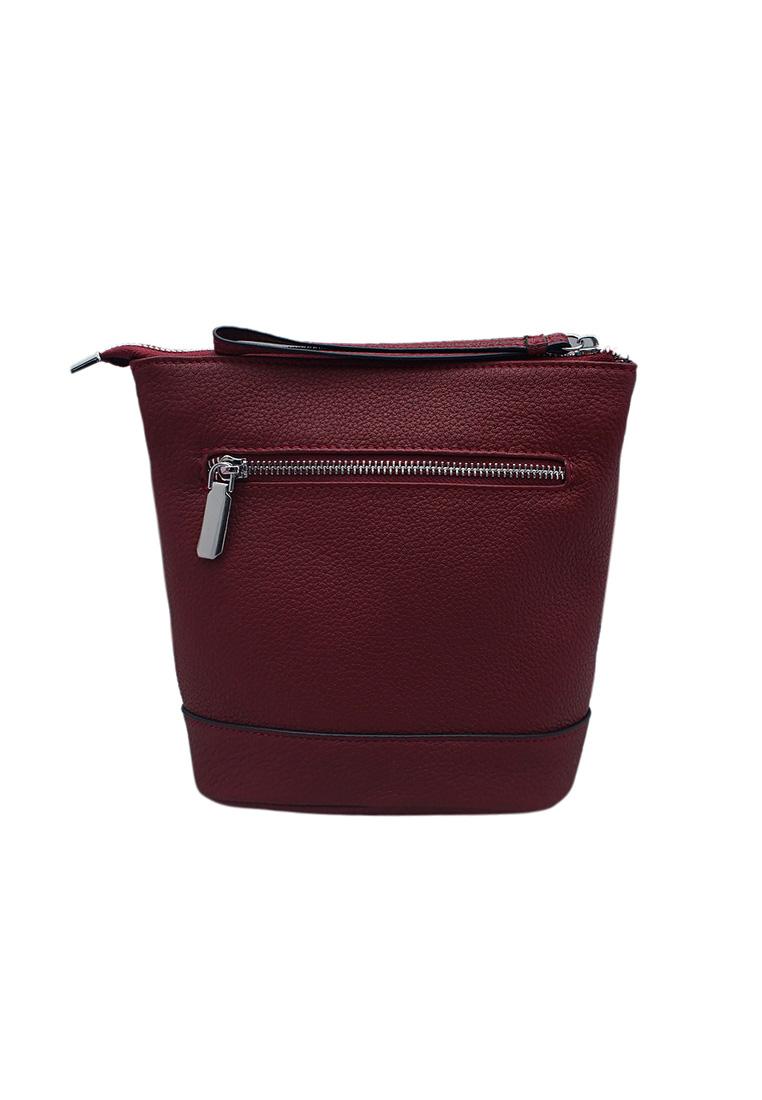 Túi đeo chéo nữ ELMI da bò thật cao cấp màu đỏ đô EB169