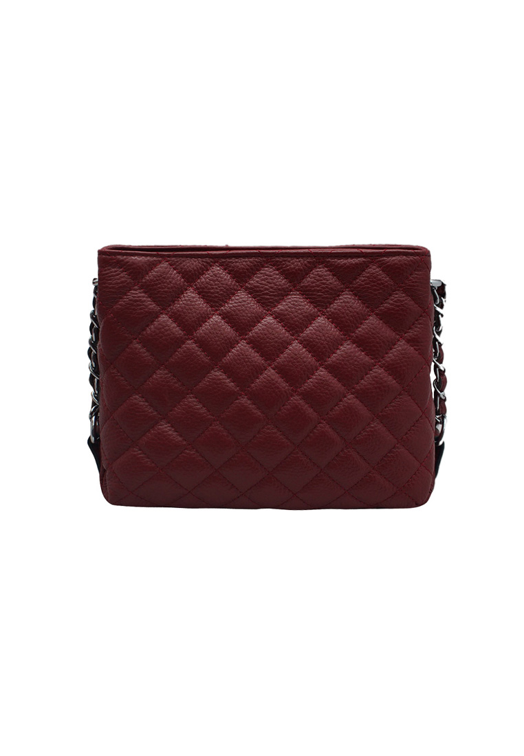 Túi đeo chéo nữ ELMI da bò thật cao cấp màu đỏ đô EB171