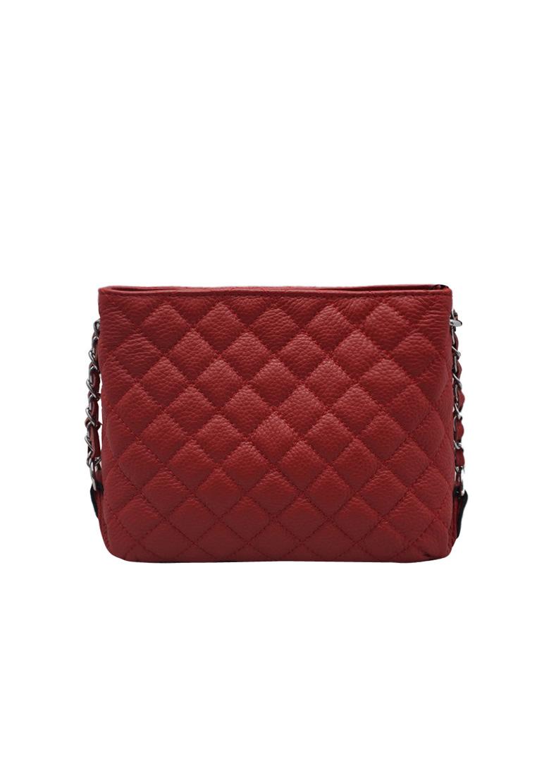 Túi đeo chéo nữ ELMI da bò thật cao cấp màu đỏ EB173