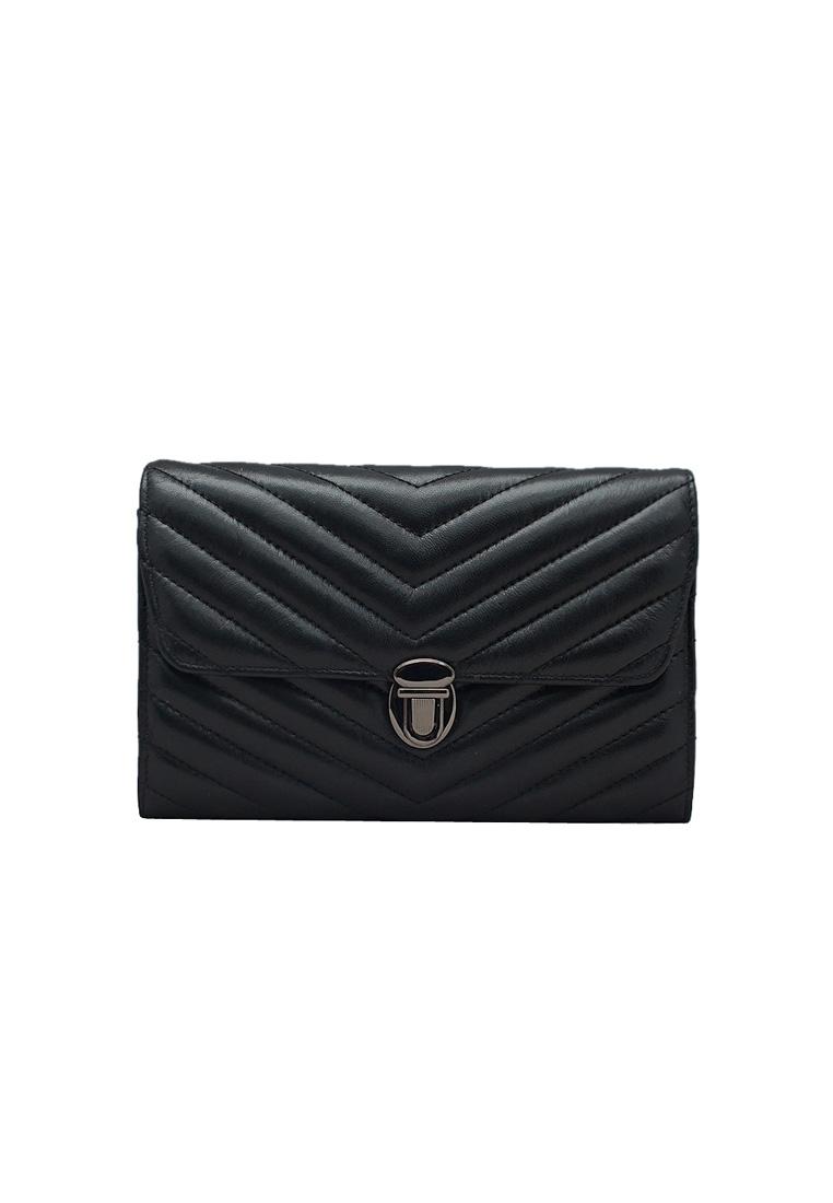 Túi đeo chéo nữ da bò thật cao cấp ELMI màu đen EB226