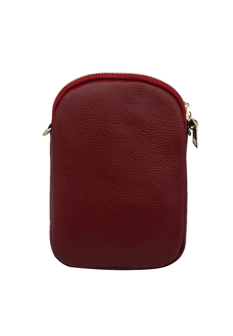 Túi đeo chéo nữ ELMI da bò thật cao cấp màu đỏ đô EB243