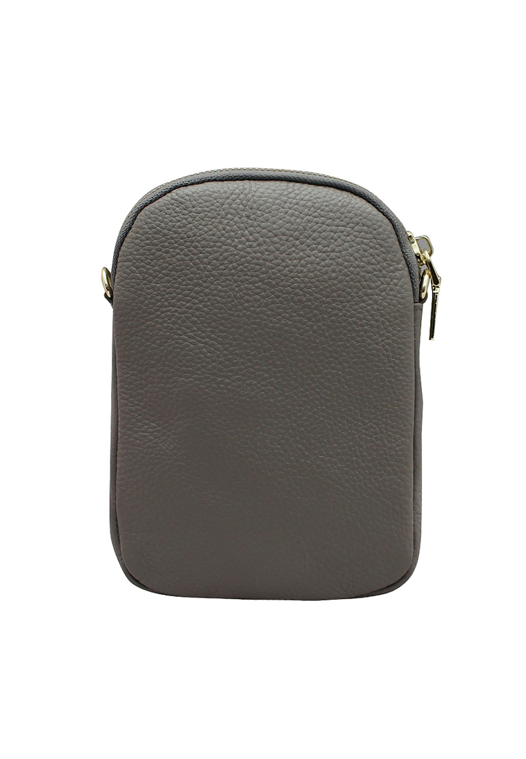 Túi đeo chéo nữ ELMI da bò thật cao cấp màu ghi EB245