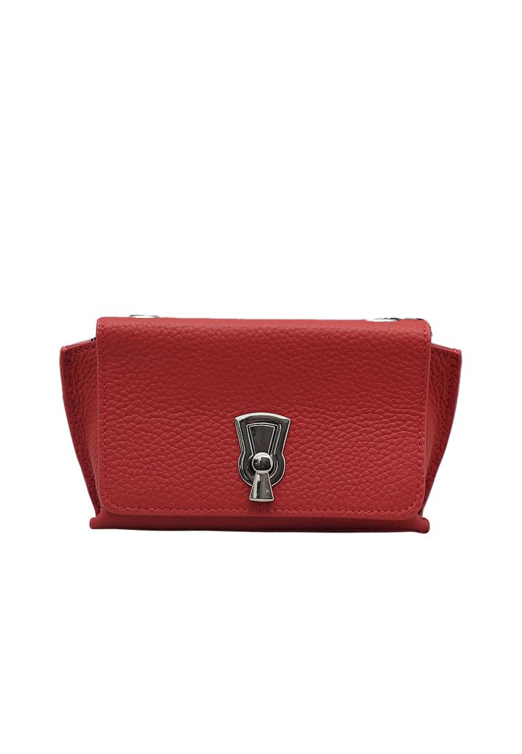 Túi đeo chéo nữ ELMI da bò thật cao cấp màu đỏ EB265