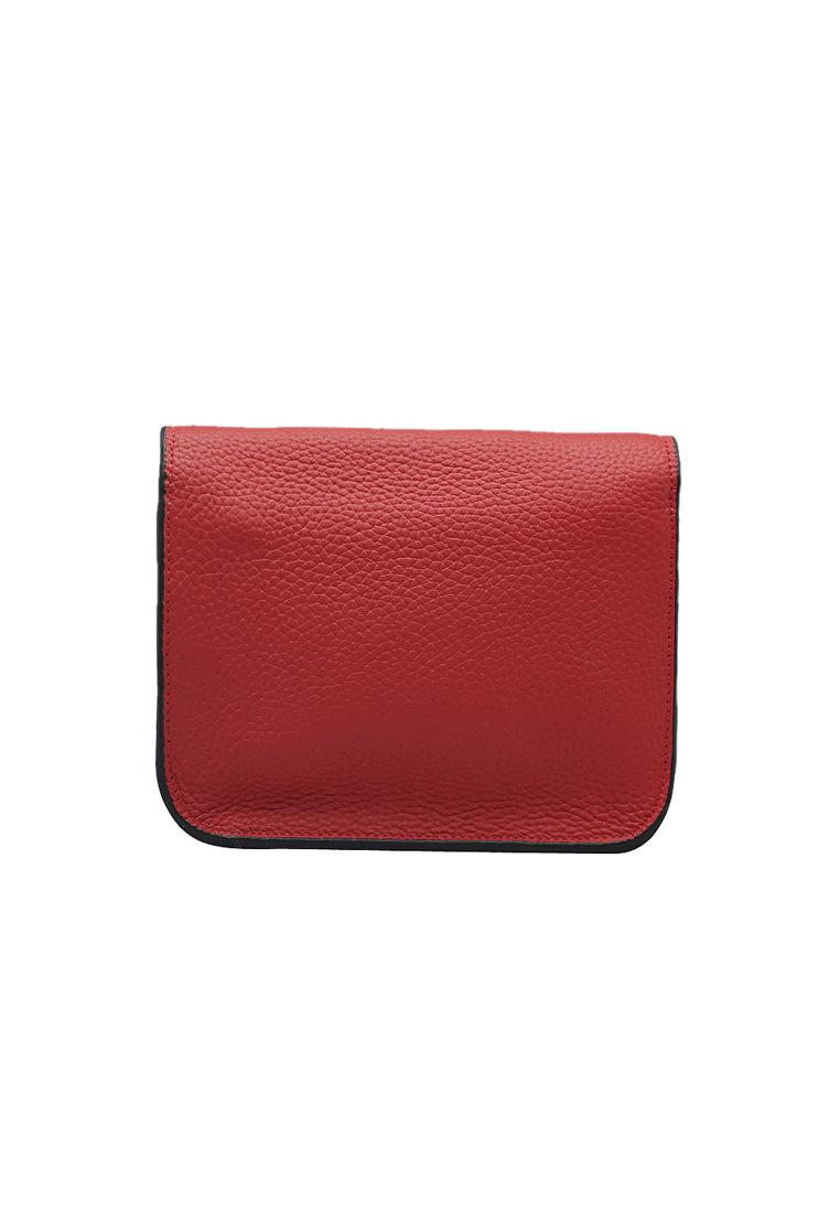 Túi đeo chéo nữ ELMI da bò thật cao cấp màu đỏ EB268
