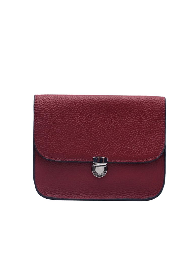 Túi đeo chéo nữ ELMI da bò thật cao cấp màu đỏ đô EB270
