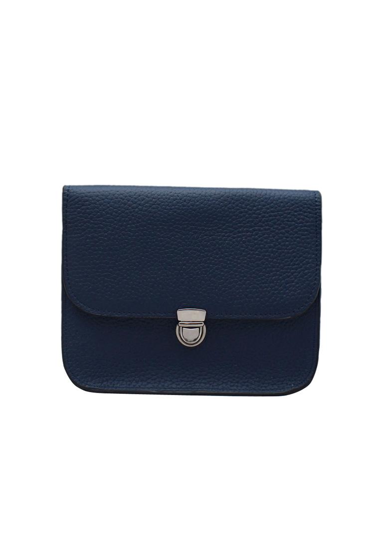 Túi đeo chéo nữ ELMI da bò thật cao cấp màu xanh đen EB271