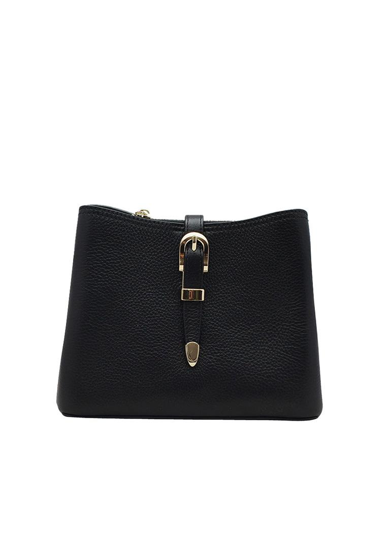 Túi đeo chéo nữ ELMI da bò thật cao cấp màu đen EB276