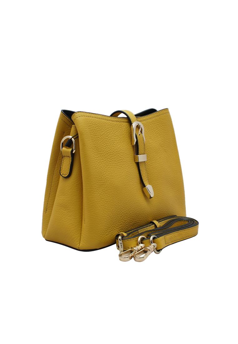 Túi đeo chéo ELMI da bò thật cao cấp màu vàng EB277