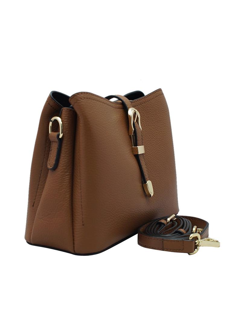 Túi đeo chéo nữ ELMI da bò thật cao cấp màu nâu bò EB279