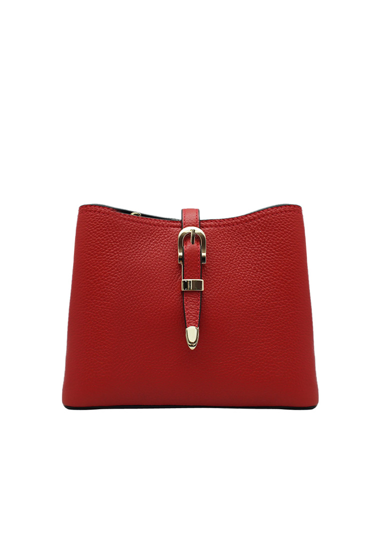 Túi đeo chéo nữ ELMI da bò thật cao cấp màu đỏ EB280