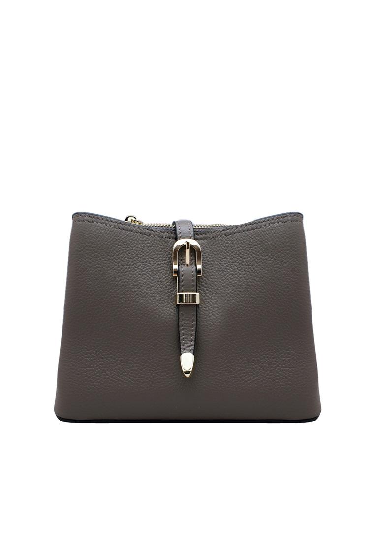 Túi đeo chéo nữ ELMI da bò thật cao cấp màu ghi EB281