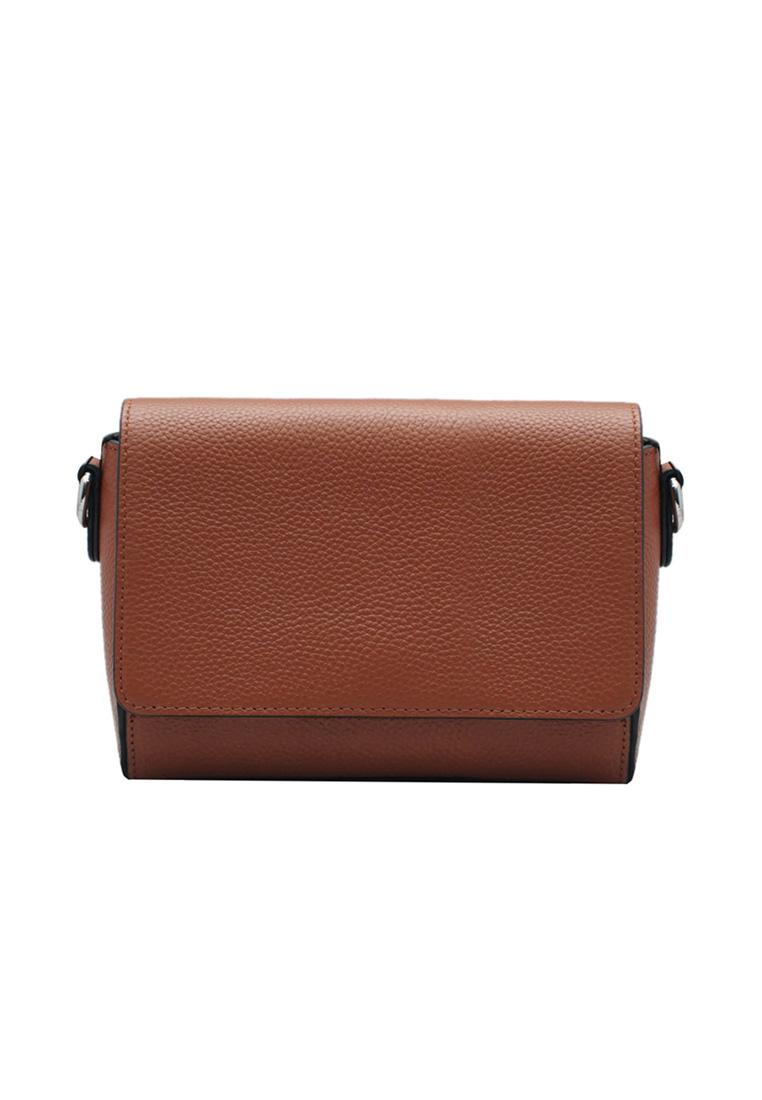 Túi đeo chéo nữ ELMI da bò thật cao cấp màu cam bò EB283