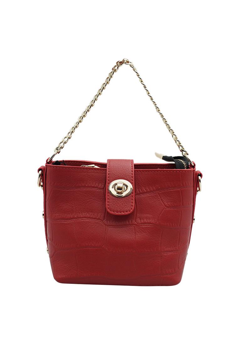 Túi đeo chéo nữ ELMI da bò thật cao cấp màu đỏ EB285
