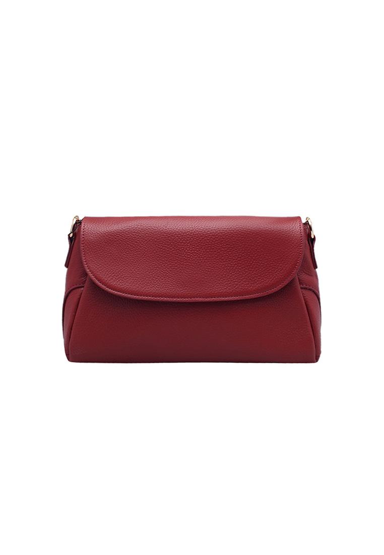 Túi đeo chéo nữ ELMI da bò thật cao cấp màu đỏ EB292