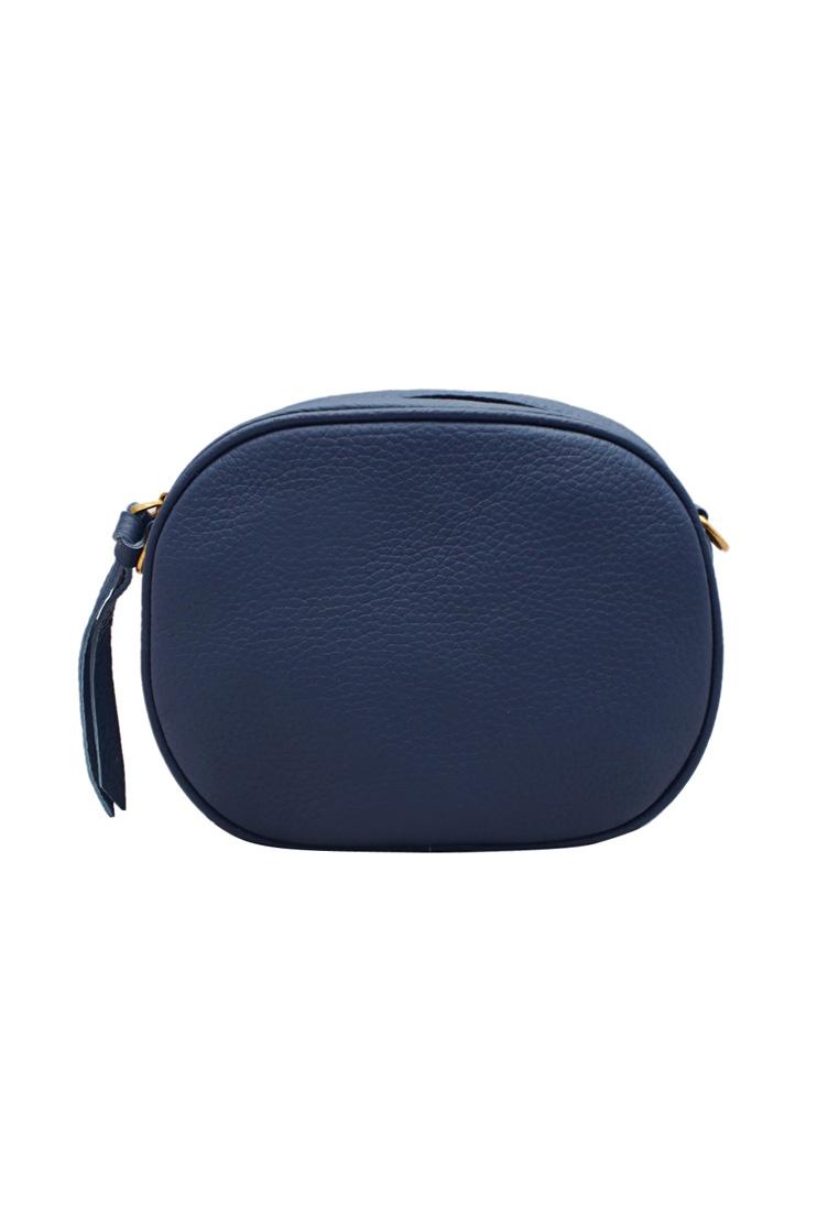 Túi đeo chéo nữ ELMI da bò thật cao cấp màu xanh đen EB296